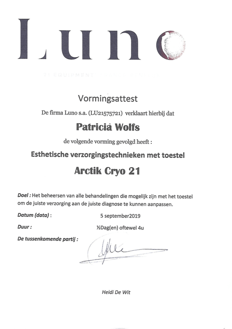 Certificaat Cryo 21