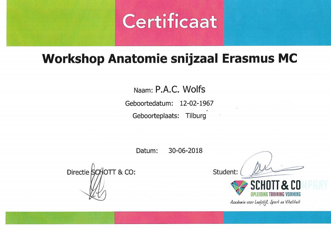 certificaat anatomie snijzaal